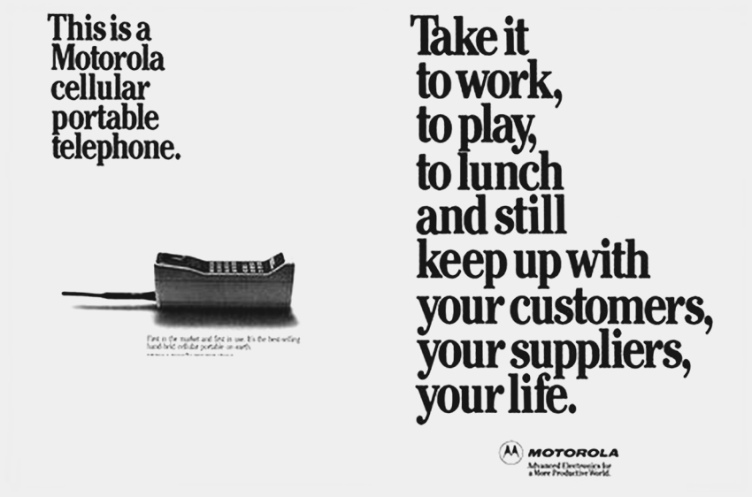 A Motorola advertisement for the DYNA T-A-C model (circa 1985).