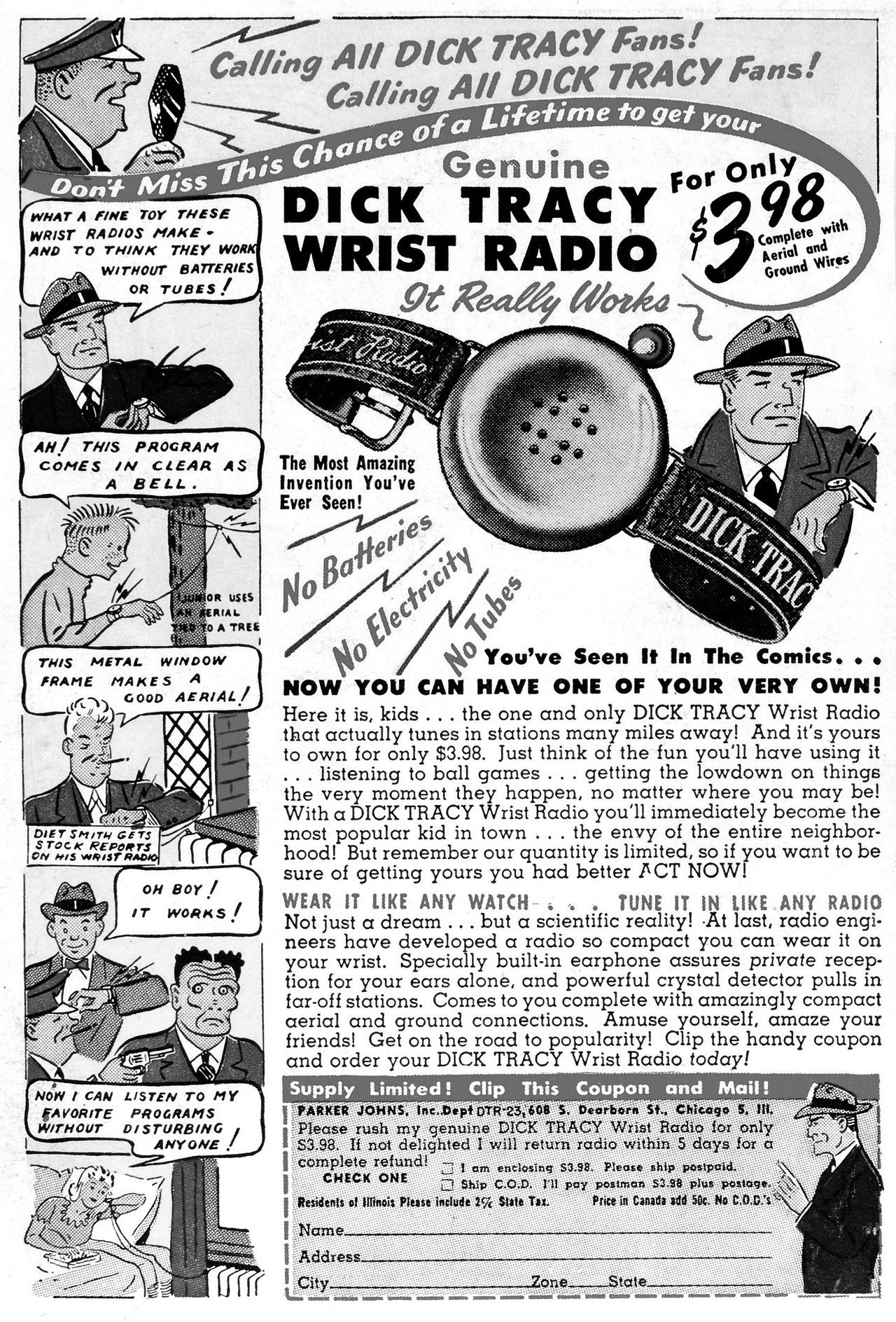 An advertisement for a Dick Tracy wrist radio.