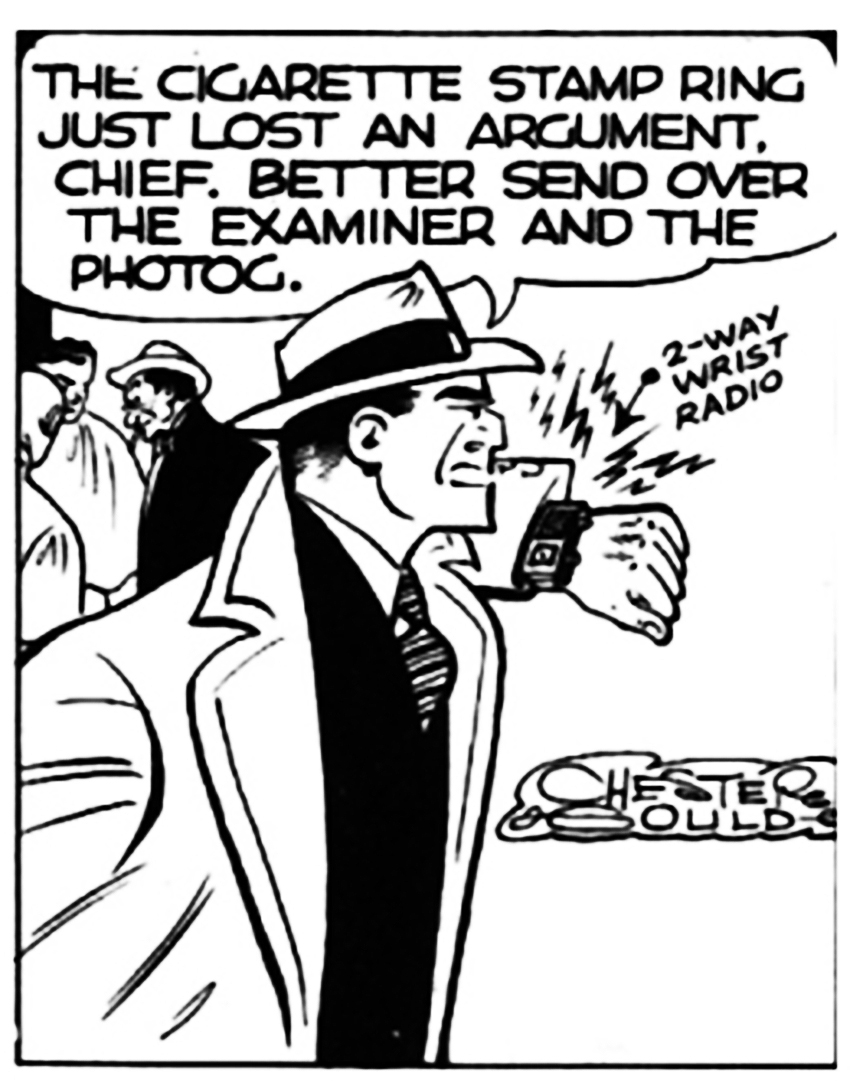 A scene from the cartoon strip Dick Tracy.